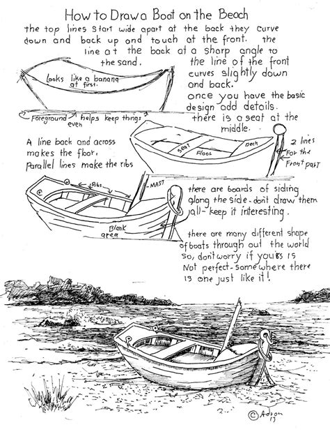 Boat On Beach Drawing by How To Draw Worksheets For The Young Artist How To Draw