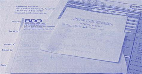 steps     bank certificate  bdo  visa