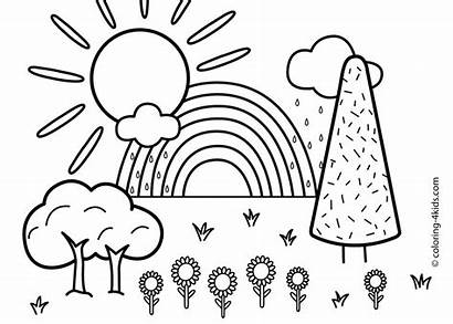 Coloring Nature Pages Scene Rainbow Printable