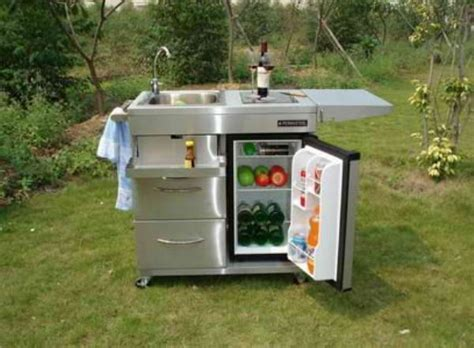Portable Kitchen Island With Sink by Outdoor Kitchen Cart With Mini Refrigerator And Also
