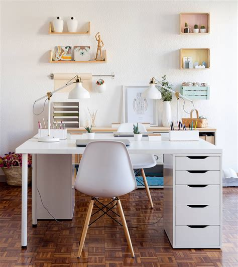 ikea bureau mural chic white minimalist workspaces design inspiration