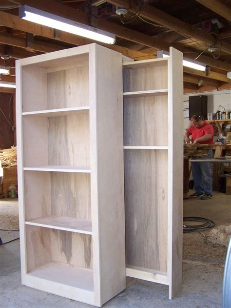 birch bookcase whith hidden gun rack   wood working pinterest diy cabinets hidden