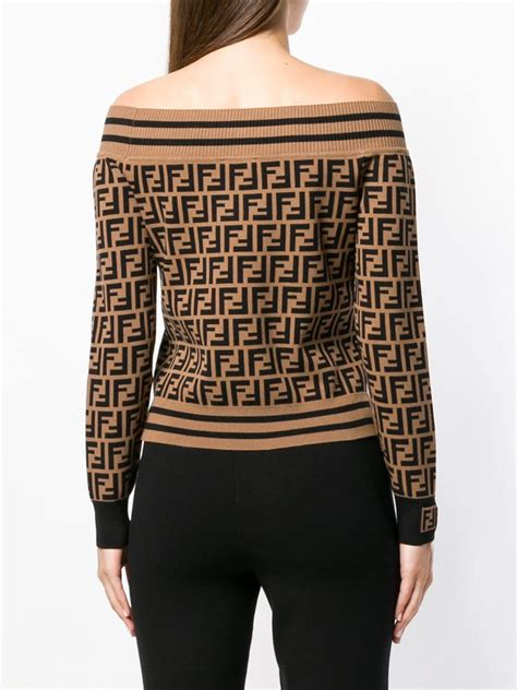 Fendi Synthetic Ff Logo Off-shoulder Jumper in Brown - Lyst