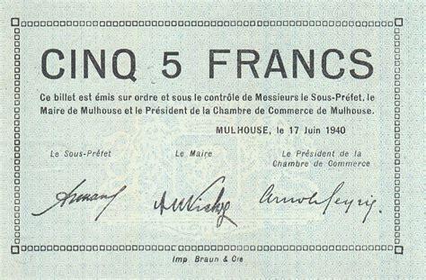 chambre du commerce mulhouse billet 5 francs mulhouse chambre de commerce série