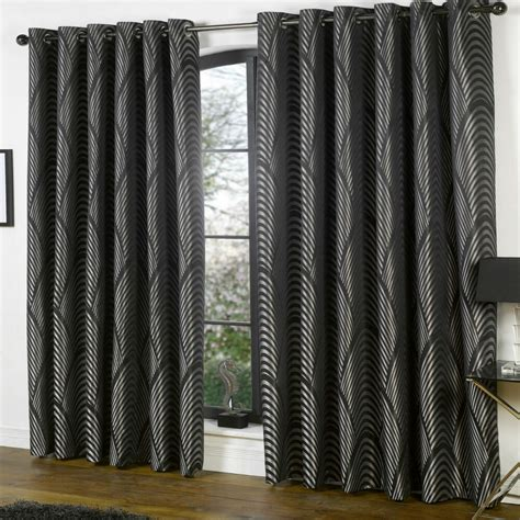 Deco Drapes - black silver deco curtains nouveau vintage style lined