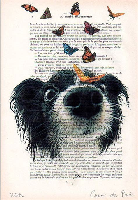 doggy  butterflies drawing illustration giclee prints