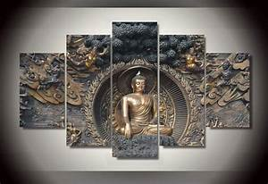 Best 5 panel framed painting buddha statue painting wall for Best brand of paint for kitchen cabinets with hanging canvas wall art