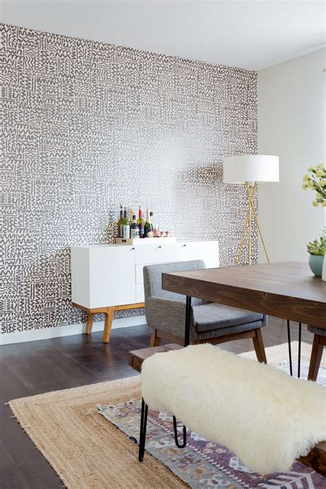 wallpaper accent wall dining room gallery