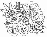 Coloring Swear Pages Words Weed 420 Printable Adults Print sketch template