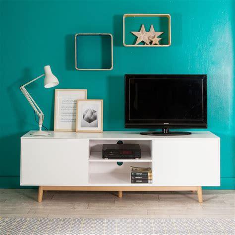 caisson armoire de cuisine meuble tv 2 portes 2 niches en bois laqué blanc pieds