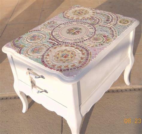 mosaic table shabby cottage chic handmade broken china