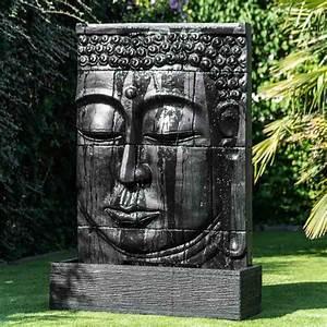Fontaine A Eau Exterieur : mur d 39 eau avec bassin visage de bouddha noir h 1 m 80 ~ Carolinahurricanesstore.com Idées de Décoration