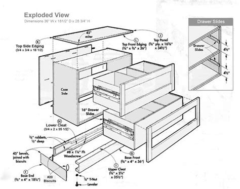 exploded view  lateral filing cabinet   filing