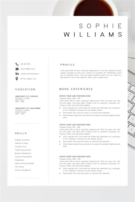 Excellent Cv Layout Template by New Cv Template Resume Template Minimalist