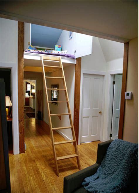 overhead hideaway  secret suspended indoor treehouse