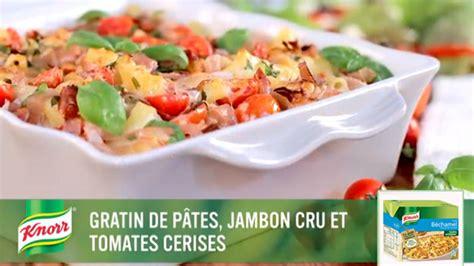 gratin de p 226 tes jambon cru et tomates cerises recette