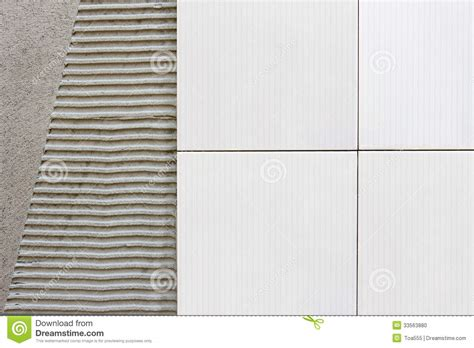 Wall Tile Adhesive Or Thinset by Tiles Wall With Cement Mortar Stock Photo Image 33563880