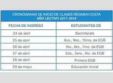 Las clases para el régimen Costa 20172018 inician el 24