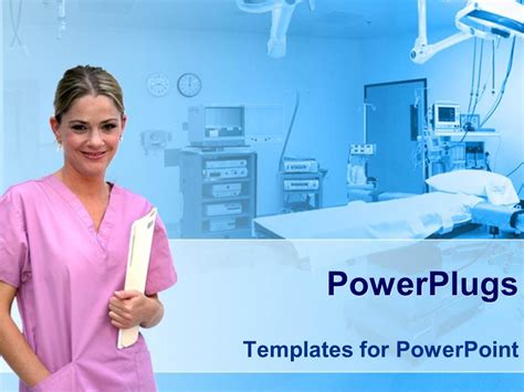 nursing powerpoint templates powerpoint template healthcare theme with smiling in pink holding patient file