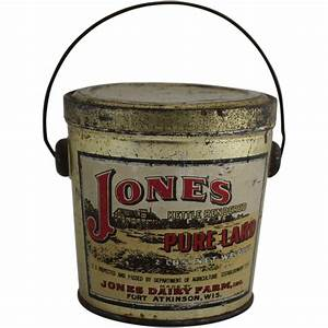 Vintage Jones Pure Lard Tin Bucket Pail : The Curious ...