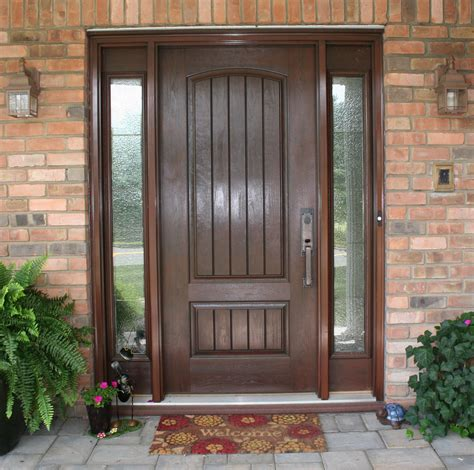 stunning solid wooden entry door with wooden sash frames