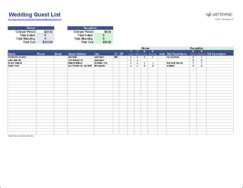 create  wedding guest list template  excel  track