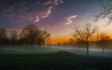 nature, Landscape, Sunrise, Mist, Trees, Clouds, Lawns ...