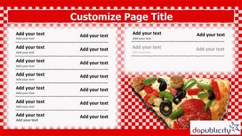 Pizza Menu Template Word by Digital Menu Board Template For Italian Pizza Restaurant