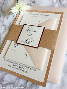 Rose Gold Sprühlack : rose gold glitter wedding invitation with glitter belly band ~ Avissmed.com Haus und Dekorationen