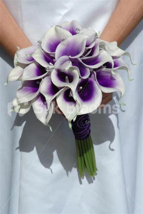 vibrant bridal bouquet  purple centred white picasso