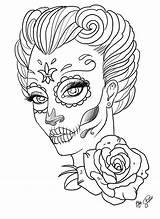 Coloring Skull Sugar Adults Popular sketch template