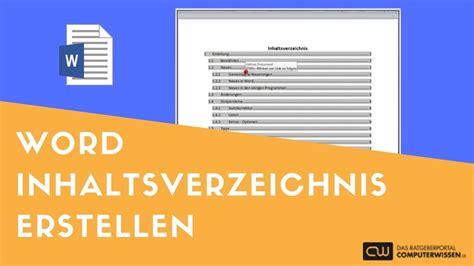 word inhaltsverzeichnis erstellen tutorial youtube