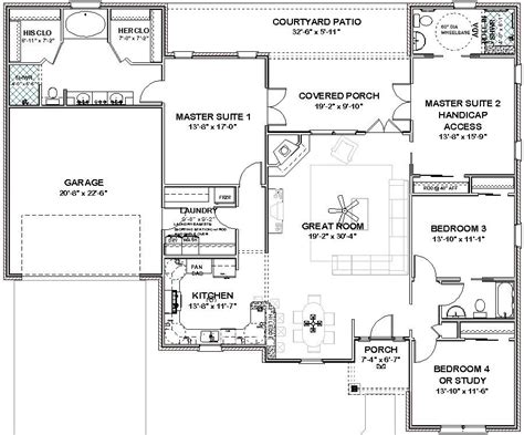Complete House Plans- 2306 Sq Ft-- 2 Masters + Ada Bath