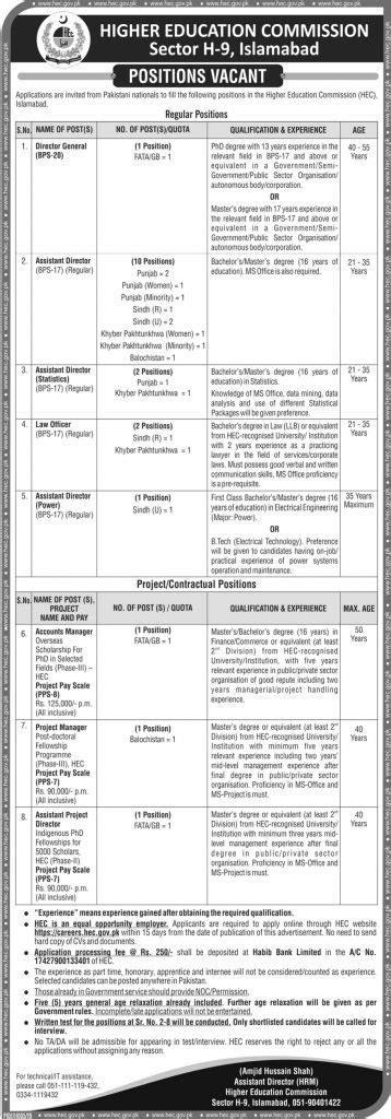 HEC Jobs August 2019 - Application Form Online Www.hec.gov.pk