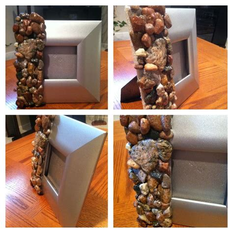 diy handmade stone picture frame  stones