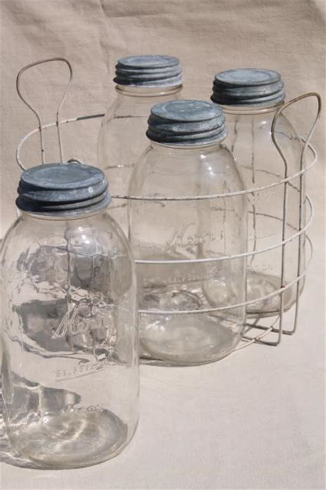 primitive vintage wire jar rack  canner carrier basketbig   qt canning jars