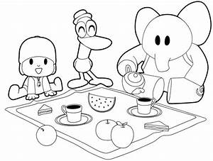 Drawing Pocoy U00f3  Pato And Elly Have Breakfast Coloring Page