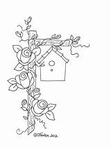 Embroidery Birdhouse Roses Coloring Bird Patterns Pages Stamps Hand Birdhouses Houses Rose Anne Digi Primitive Applique Drawings Birds Climbing Drawing sketch template