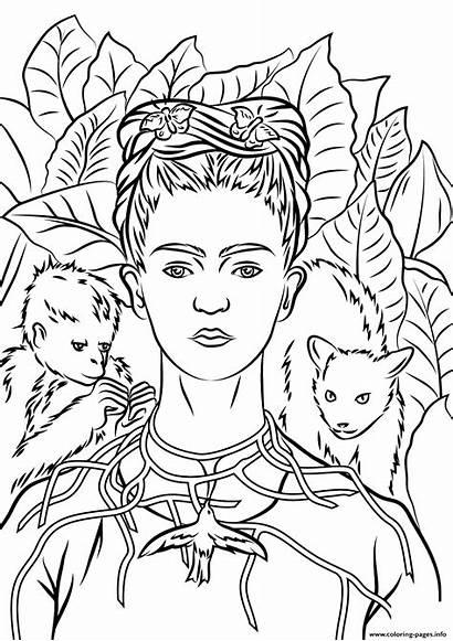 Coloring Portrait Frida Kahlo Necklace Self Thorns