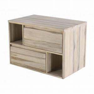 Meuble De Salle De Bain Suspendu : meuble de salle de bain teck 2 tiroirs 90 cm elixir ~ Edinachiropracticcenter.com Idées de Décoration