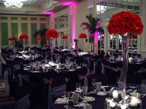 black white centerpieces chairs indoor reception wedding reception photos pictures