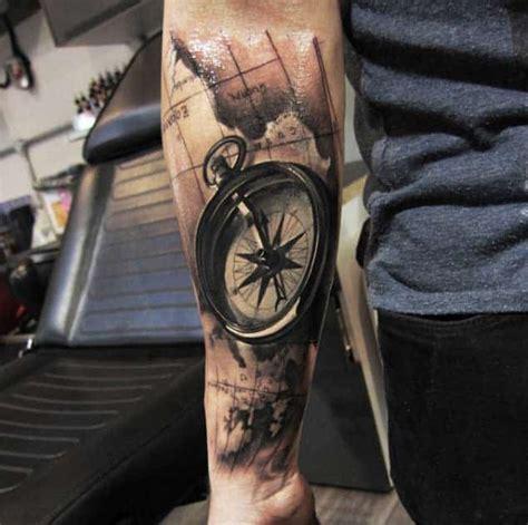hand picked compass nautical tattoo design ideas