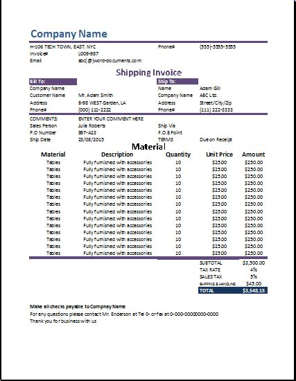 shipping invoice template  word documentscom