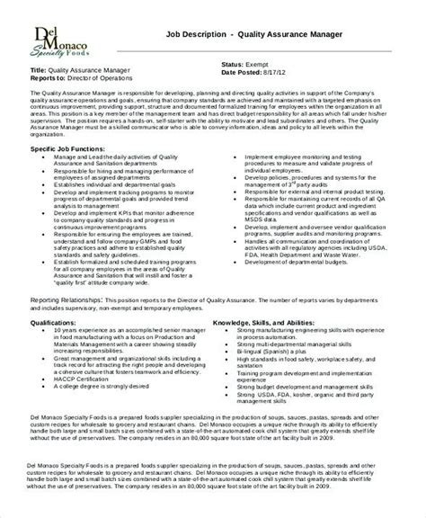 quality assurance manager description quality