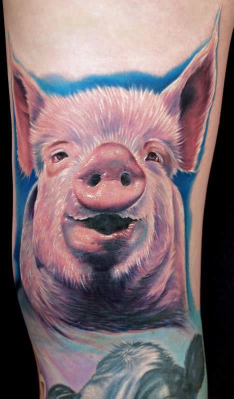 unique pig tattoo images pictures  ideas