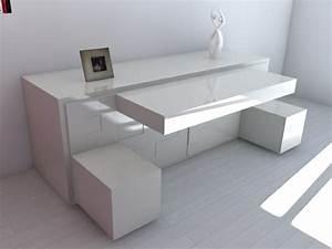 Bureau Blanc Moderne Rangement Bureau Professionnel