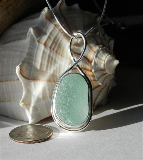 light green seafoam sea glass pendant