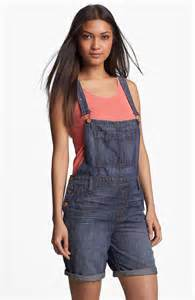 Women Denim Bib Overall Shorts