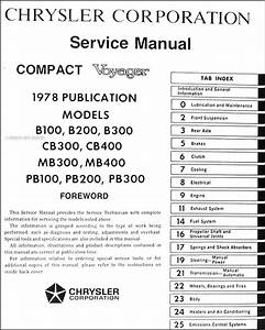 1978 Dodge Van Repair Shop Manual Sportsman Tradesman