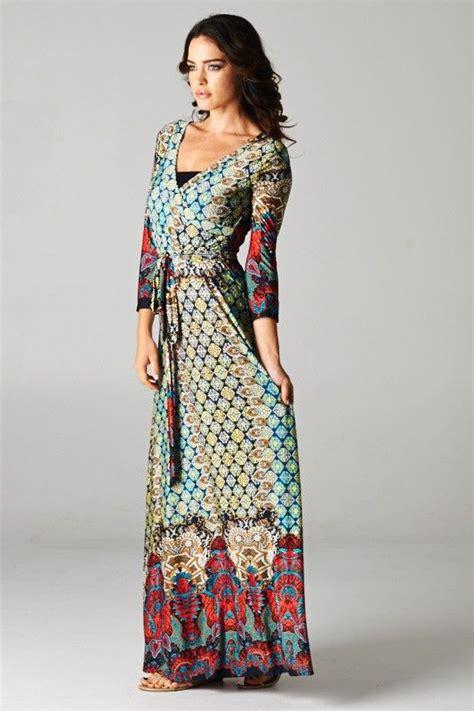boho wrap maxi dress moroccan quatrefoil print